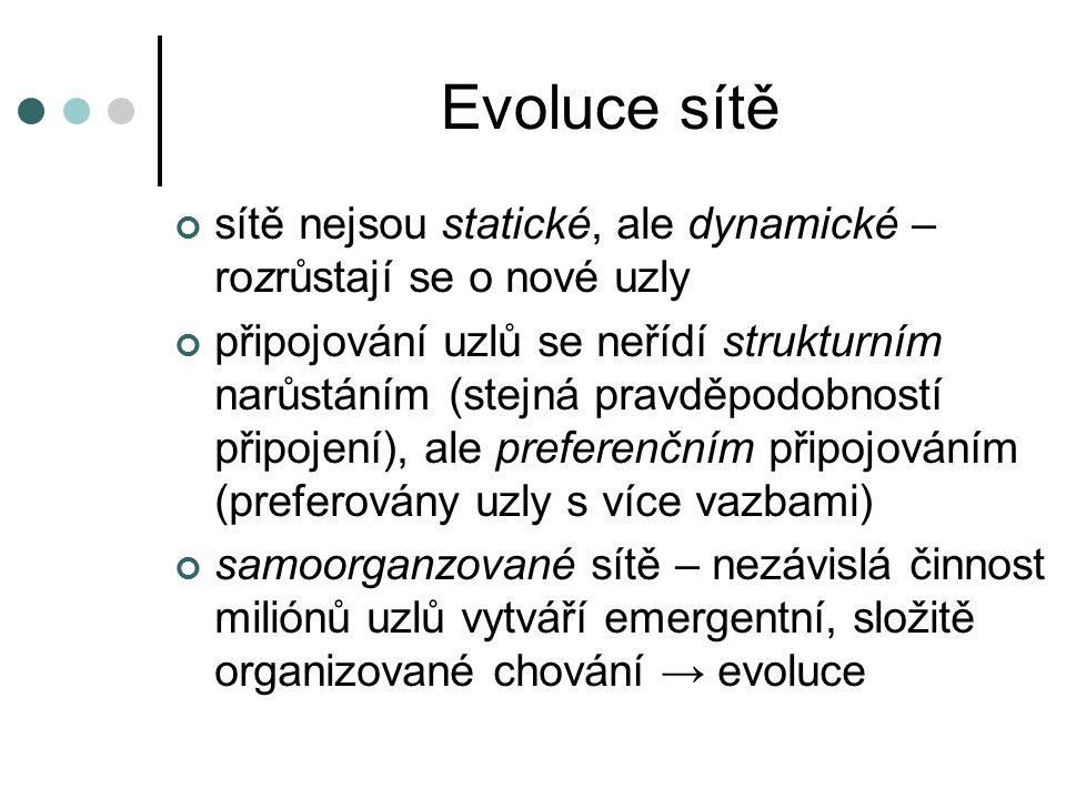 Evoluce sítě sítě nejsou statické, ale dynamické – rozrůstají se o nové uzly připojování uzlů se neřídí strukturním narůstáním (stejná pravděpodobnost