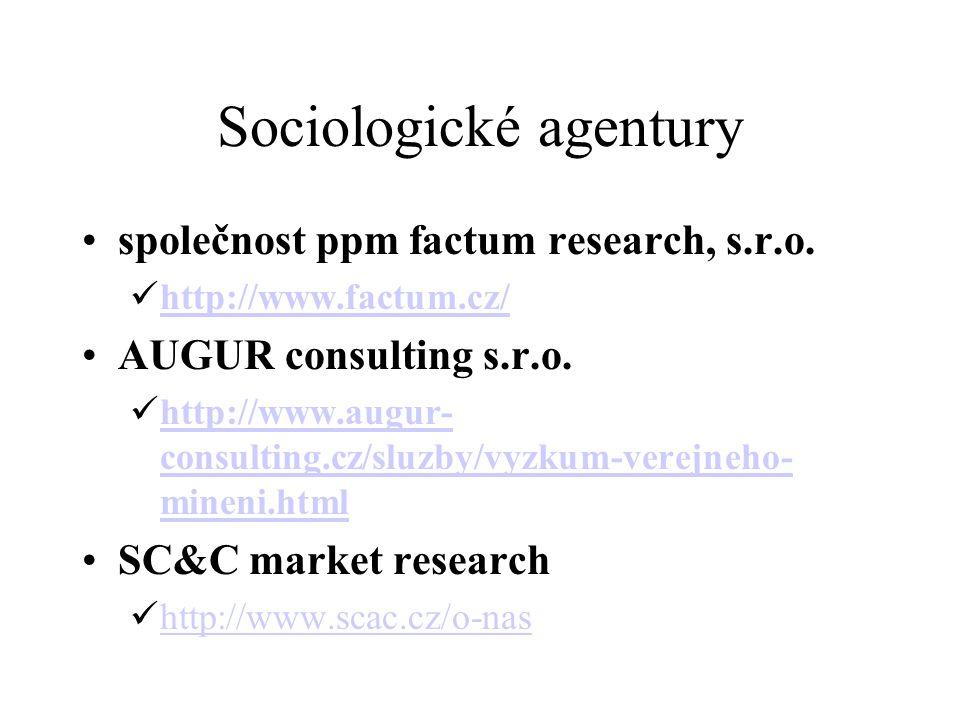 Sociologické agentury společnost ppm factum research, s.r.o.