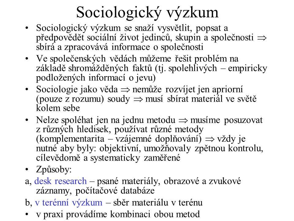 Sociologický výzkum se snaží vysvětlit, popsat a předpovědět sociální život jedinců, skupin a společnosti  sbírá a zpracovává informace o společnosti Ve společenských vědách můžeme řešit problém na základě shromážděných faktů (tj.