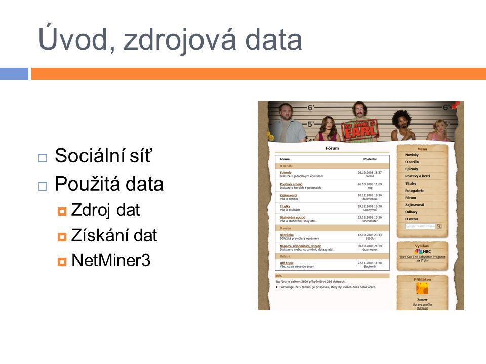 Úvod, zdrojová data  Sociální síť  Použitá data  Zdroj dat  Získání dat  NetMiner3