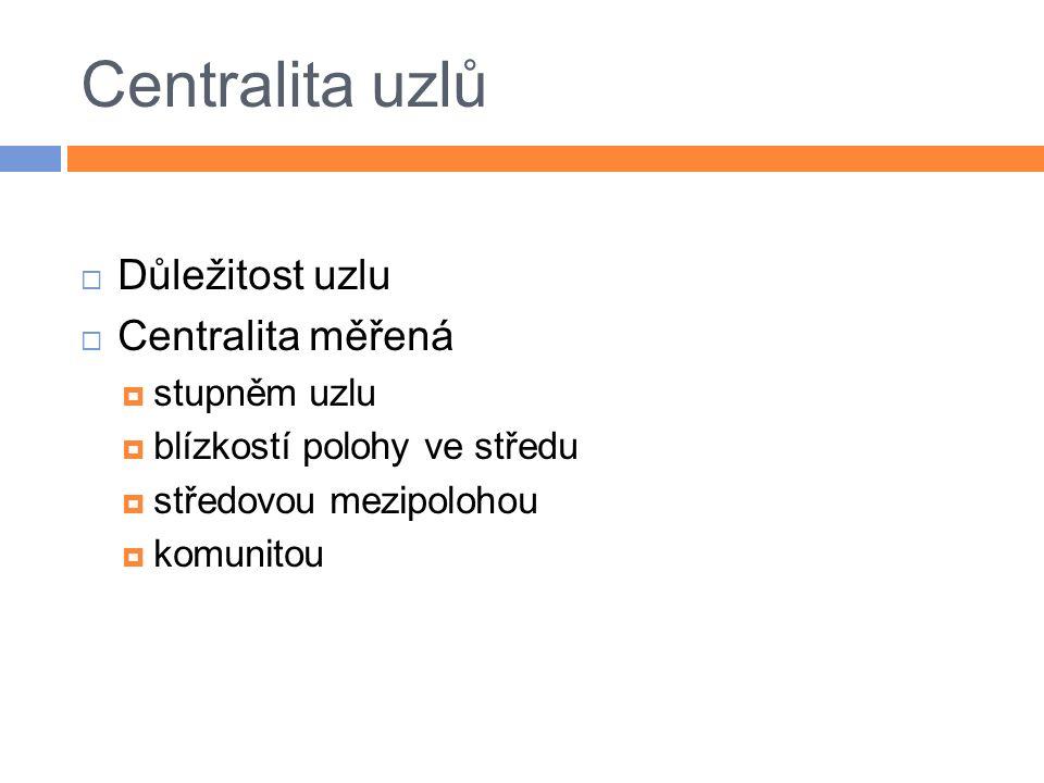 Centralita uzlů  Důležitost uzlu  Centralita měřená  stupněm uzlu  blízkostí polohy ve středu  středovou mezipolohou  komunitou