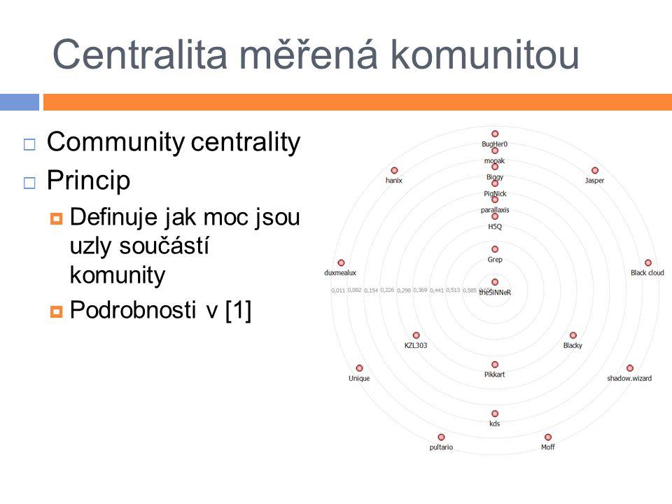 Centralita měřená komunitou  Community centrality  Princip  Definuje jak moc jsou uzly součástí komunity  Podrobnosti v [1]