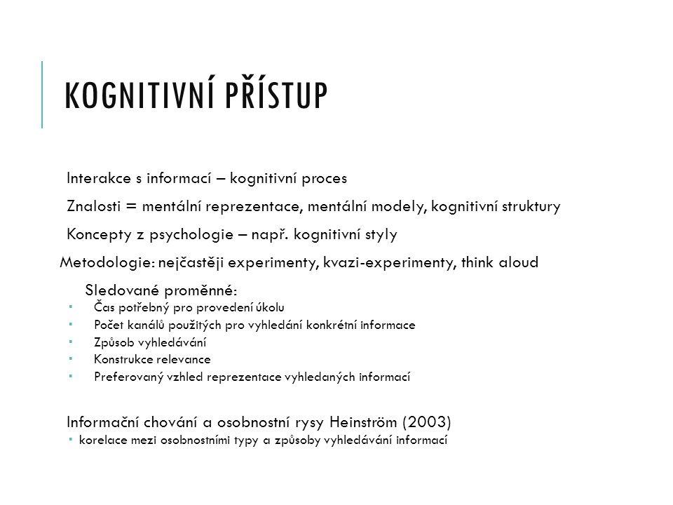 KOGNITIVNÍ PŘÍSTUP Interakce s informací – kognitivní proces Znalosti = mentální reprezentace, mentální modely, kognitivní struktury Koncepty z psychologie – např.