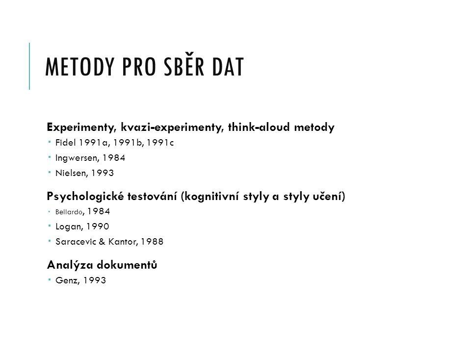 METODY PRO SBĚR DAT Experimenty, kvazi-experimenty, think-aloud metody  Fidel 1991a, 1991b, 1991c  Ingwersen, 1984  Nielsen, 1993 Psychologické testování (kognitivní styly a styly učení)  Bellardo, 1984  Logan, 1990  Saracevic & Kantor, 1988 Analýza dokumentů  Genz, 1993