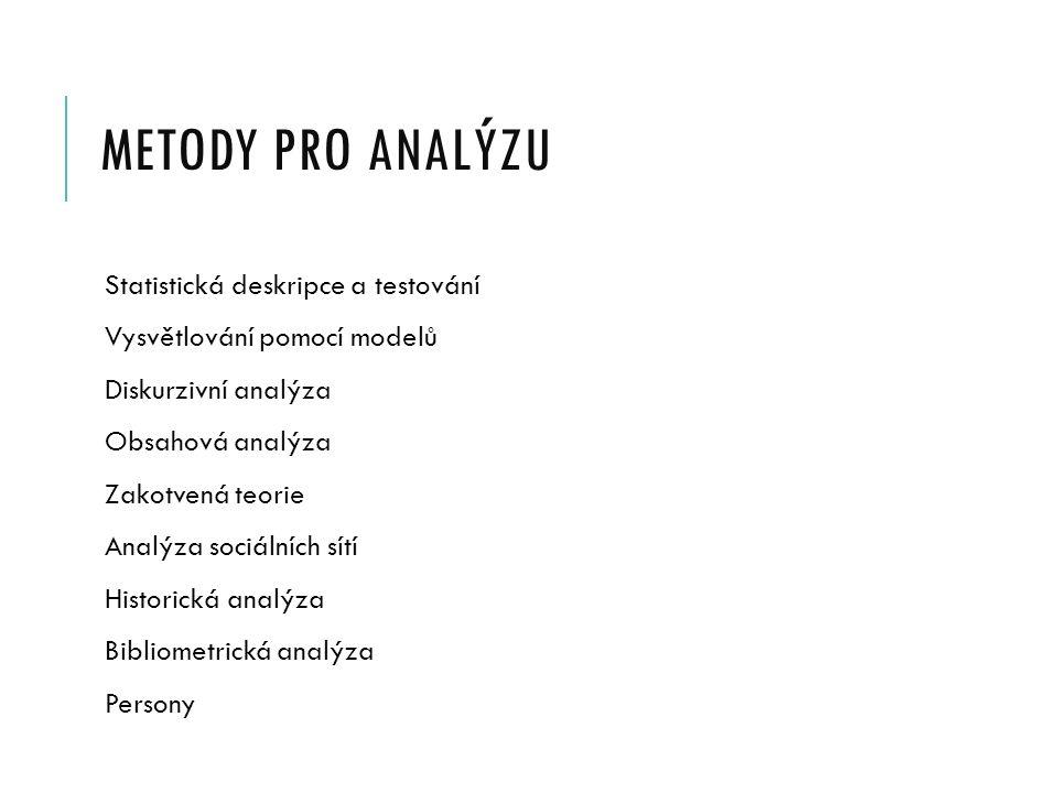 METODY PRO ANALÝZU Statistická deskripce a testování Vysvětlování pomocí modelů Diskurzivní analýza Obsahová analýza Zakotvená teorie Analýza sociální