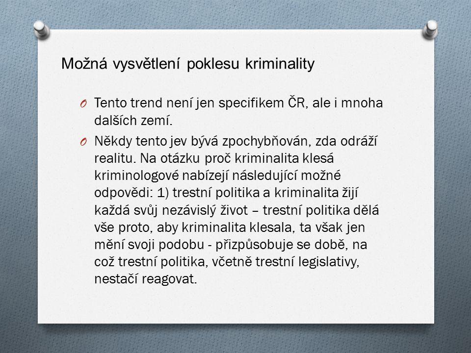 Možná vysvětlení poklesu kriminality O Tento trend není jen specifikem ČR, ale i mnoha dalších zemí.