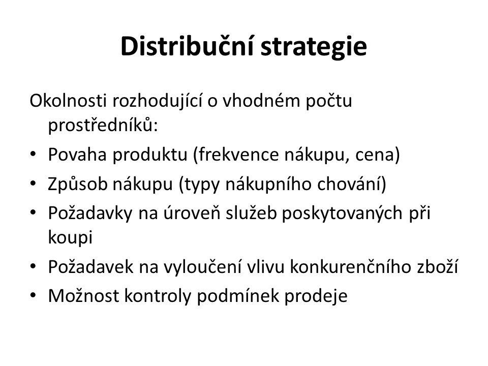 Distribuční strategie Okolnosti rozhodující o vhodném počtu prostředníků: Povaha produktu (frekvence nákupu, cena) Způsob nákupu (typy nákupního chování) Požadavky na úroveň služeb poskytovaných při koupi Požadavek na vyloučení vlivu konkurenčního zboží Možnost kontroly podmínek prodeje