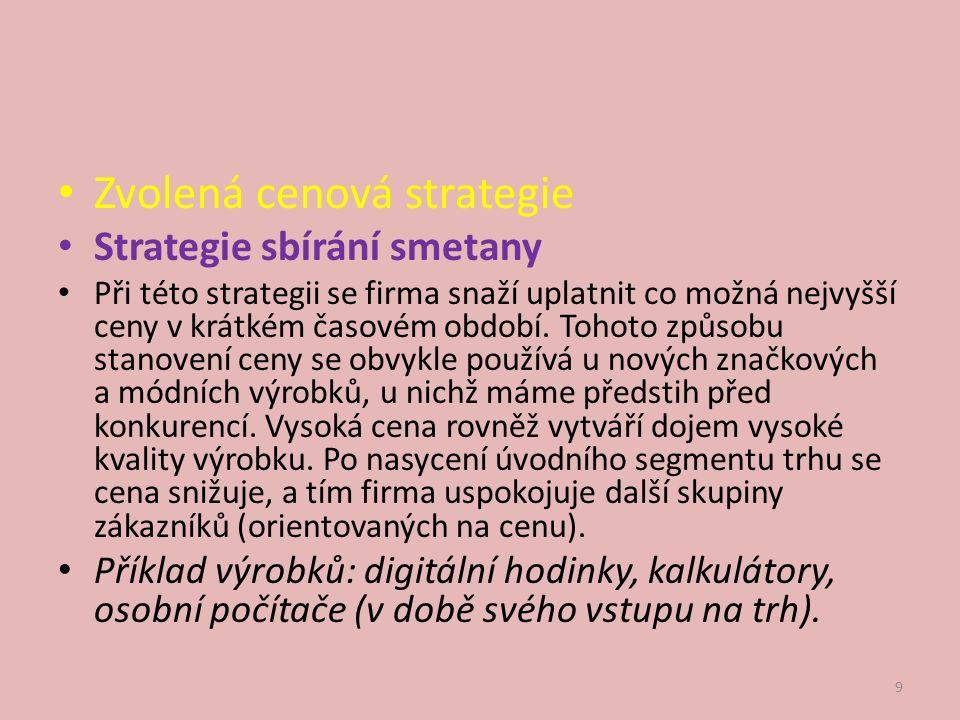 Použité zdroje: 1.KOTRBOVÁ, Helena. Marketingový mix: cenová politika.