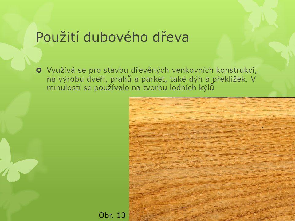 Použití dubového dřeva  Využívá se pro stavbu dřevěných venkovních konstrukcí, na výrobu dveří, prahů a parket, také dýh a překližek. V minulosti se
