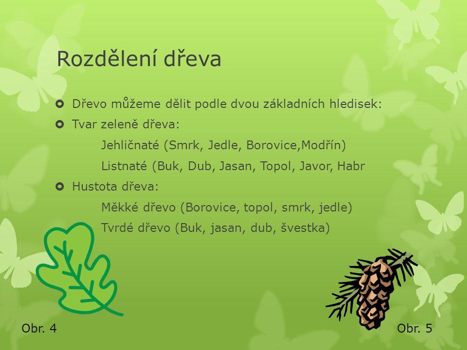 Rozdělení dřeva  Dřevo můžeme dělit podle dvou základních hledisek:  Tvar zeleně dřeva: Jehličnaté (Smrk, Jedle, Borovice,Modřín) Listnaté (Buk, Dub