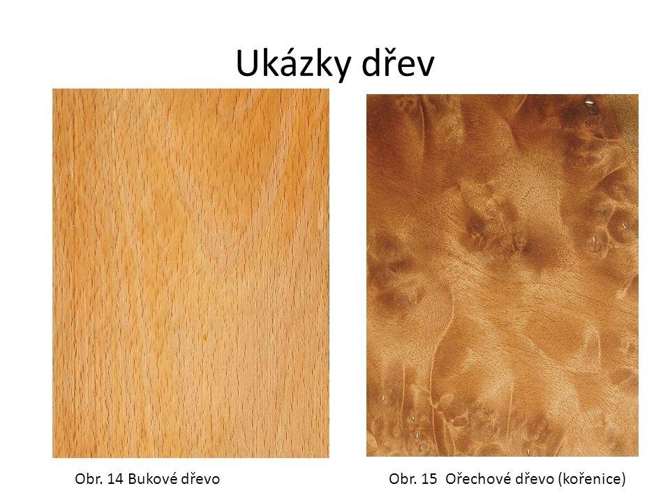 Ukázky dřev Obr. 14 Bukové dřevoObr. 15 Ořechové dřevo (kořenice)