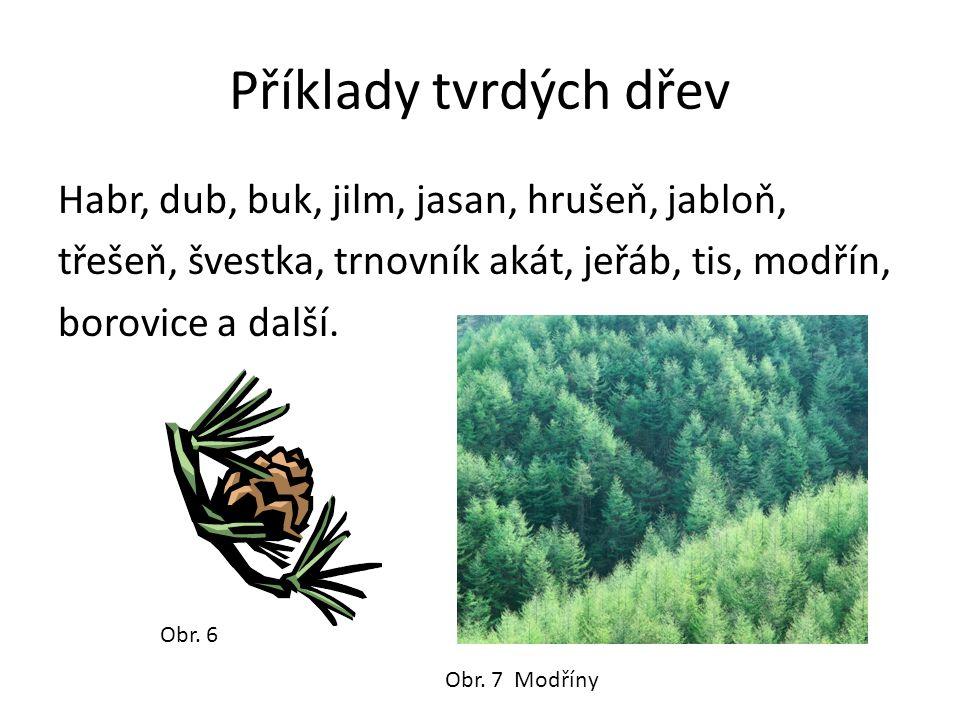 Příklady tvrdých dřev Habr, dub, buk, jilm, jasan, hrušeň, jabloň, třešeň, švestka, trnovník akát, jeřáb, tis, modřín, borovice a další.