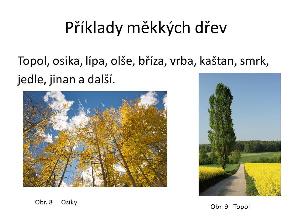 Příklady měkkých dřev Topol, osika, lípa, olše, bříza, vrba, kaštan, smrk, jedle, jinan a další.