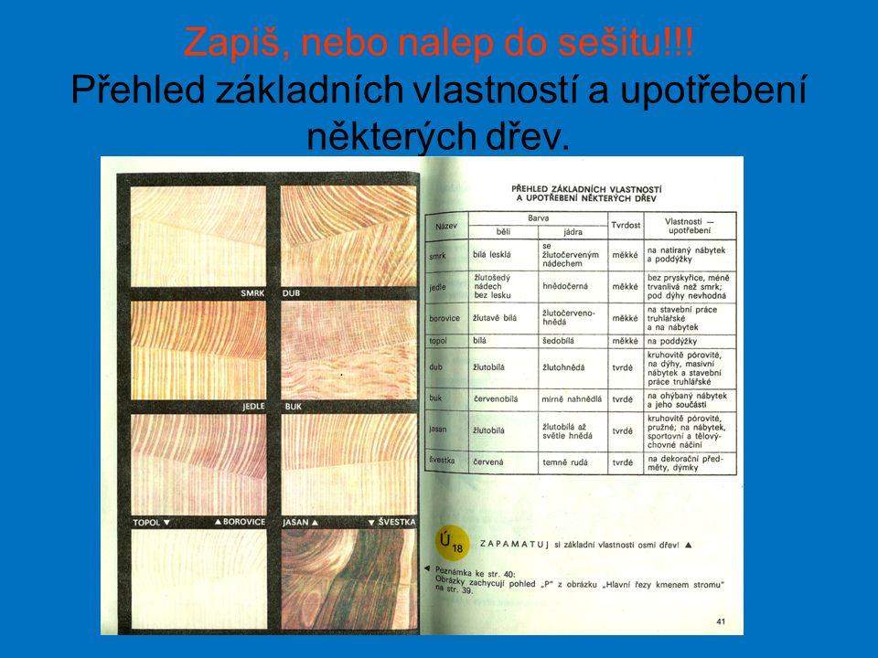 Zapiš, nebo nalep do sešitu!!! Přehled základních vlastností a upotřebení některých dřev.
