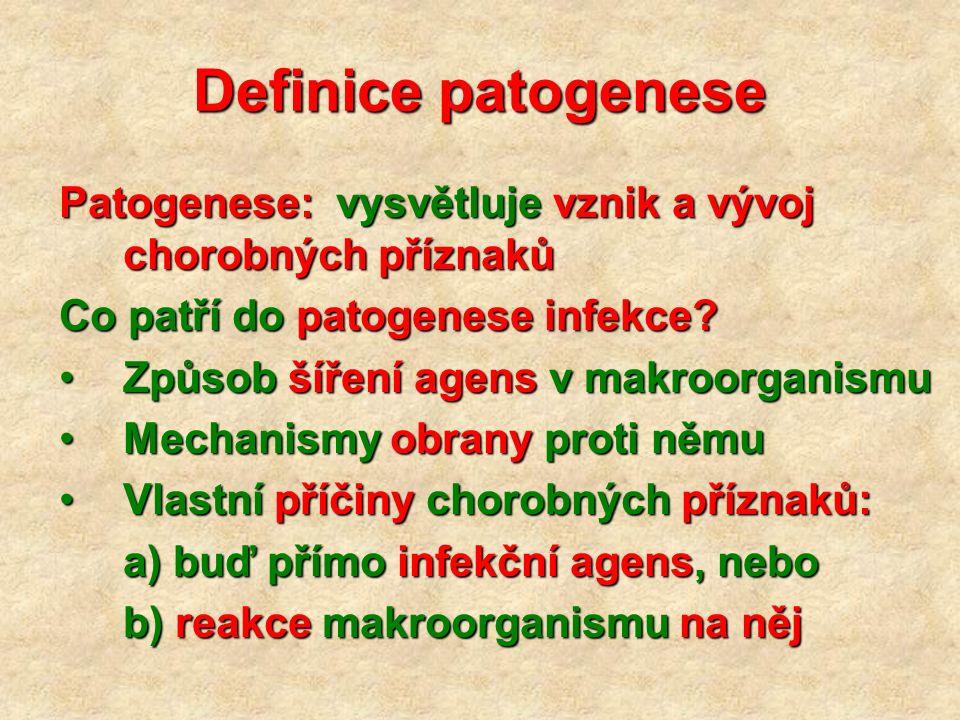 Definice patogenese Patogenese: vysvětluje vznik a vývoj chorobných příznaků Co patří do patogenese infekce? Způsob šíření agens v makroorganismuZpůso