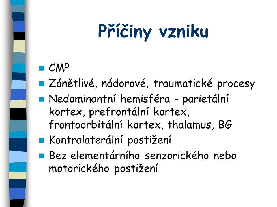 Příčiny vzniku CMP Zánětlivé, nádorové, traumatické procesy Nedominantní hemisféra - parietální kortex, prefrontální kortex, frontoorbitální kortex, thalamus, BG Kontralaterální postižení Bez elementárního senzorického nebo motorického postižení