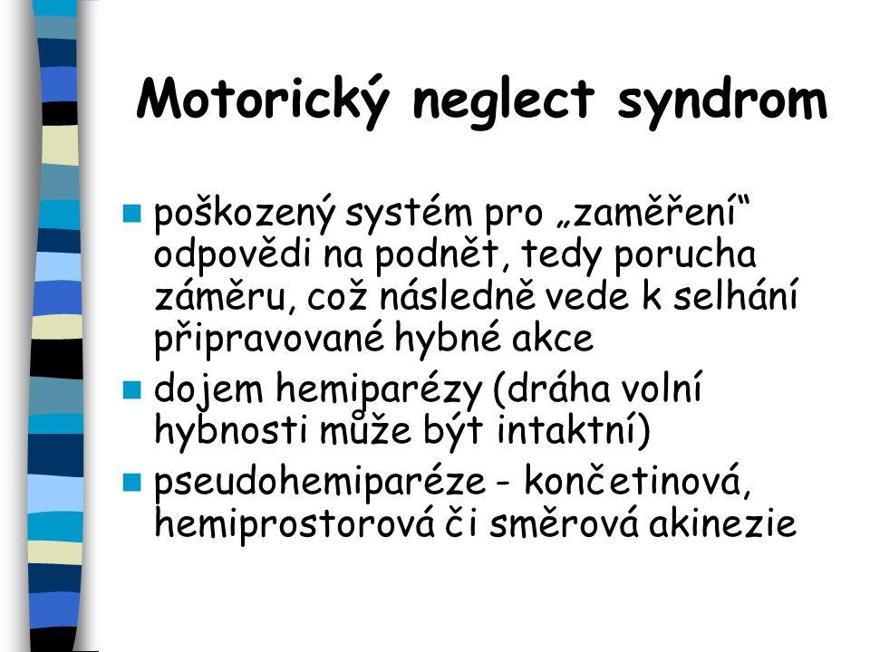 Motorický neglect syndrom končetinová akinezie - vázne pohyb končetinami kontralaterálními k lézi hemiprostorové akinezie - pacient neschopen provádět pohyby končetinami v kontralezionální polovině prostoru směrové akinezie - vázne u pacienta pohyb hlavou, pohledem nebo dokonce končetinou ve směru kontralaterálně k lézi hypokinezie- zpomalené zahájení pohybu.