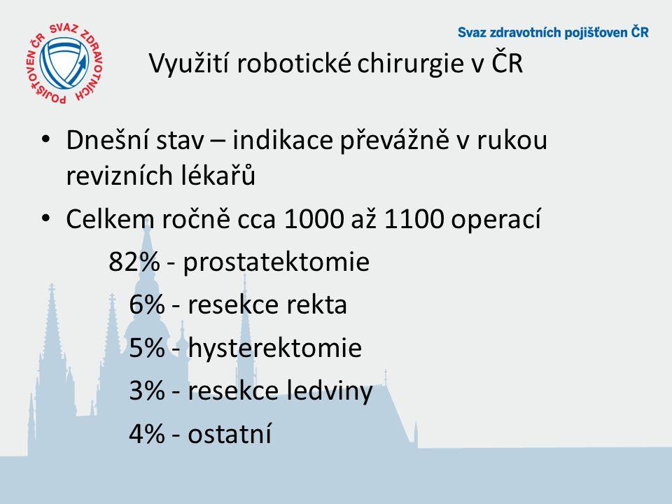 Využití robotické chirurgie v ČR Dnešní stav – indikace převážně v rukou revizních lékařů Celkem ročně cca 1000 až 1100 operací 82% - prostatektomie 6% - resekce rekta 5% - hysterektomie 3% - resekce ledviny 4% - ostatní