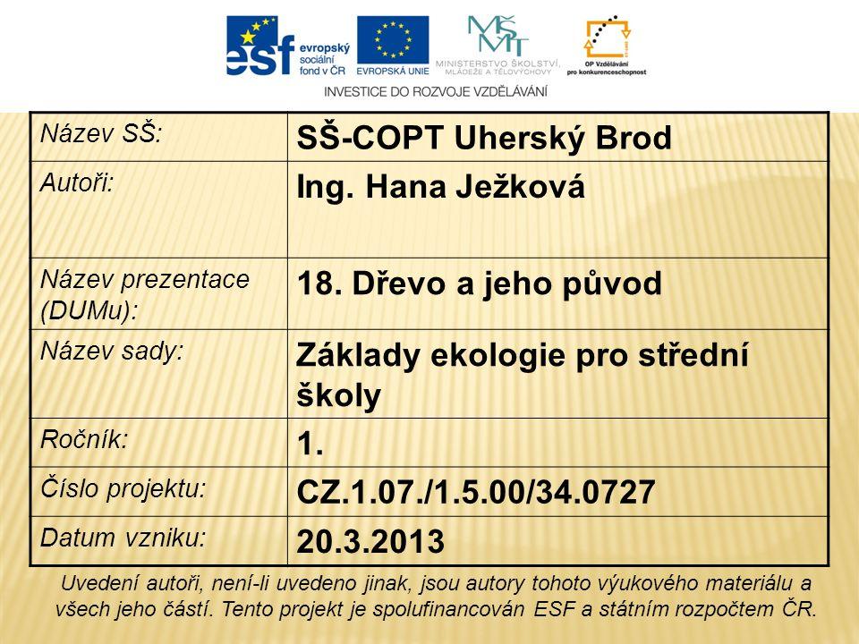 Název SŠ: SŠ-COPT Uherský Brod Autoři: Ing. Hana Ježková Název prezentace (DUMu): 18.