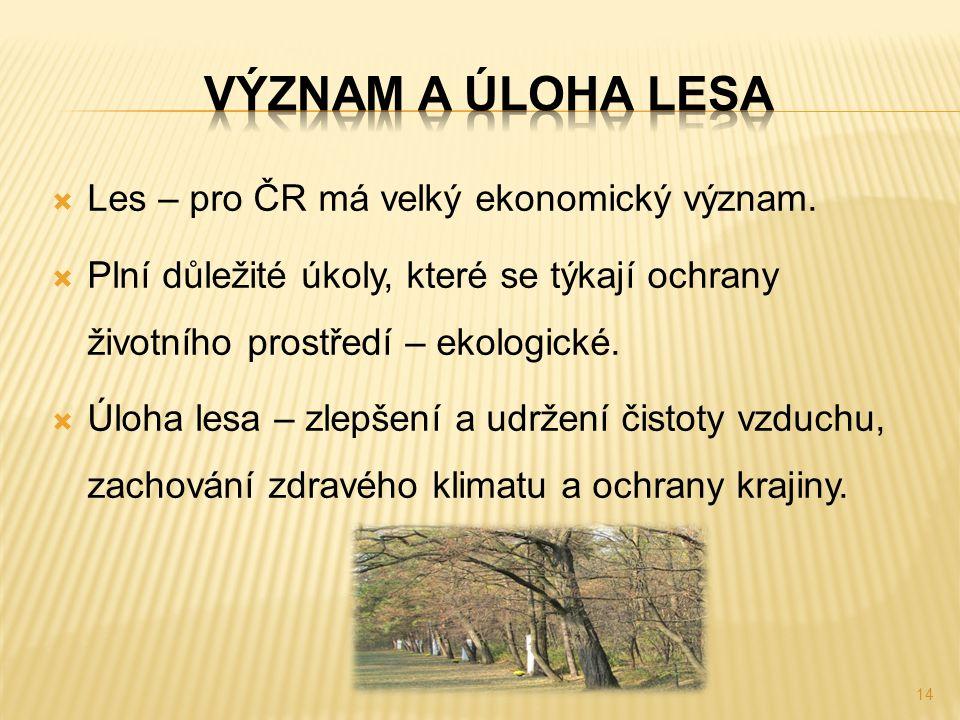  Les – pro ČR má velký ekonomický význam.