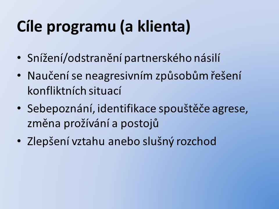 Cíle programu (a klienta) Snížení/odstranění partnerského násilí Naučení se neagresivním způsobům řešení konfliktních situací Sebepoznání, identifikace spouštěče agrese, změna prožívání a postojů Zlepšení vztahu anebo slušný rozchod
