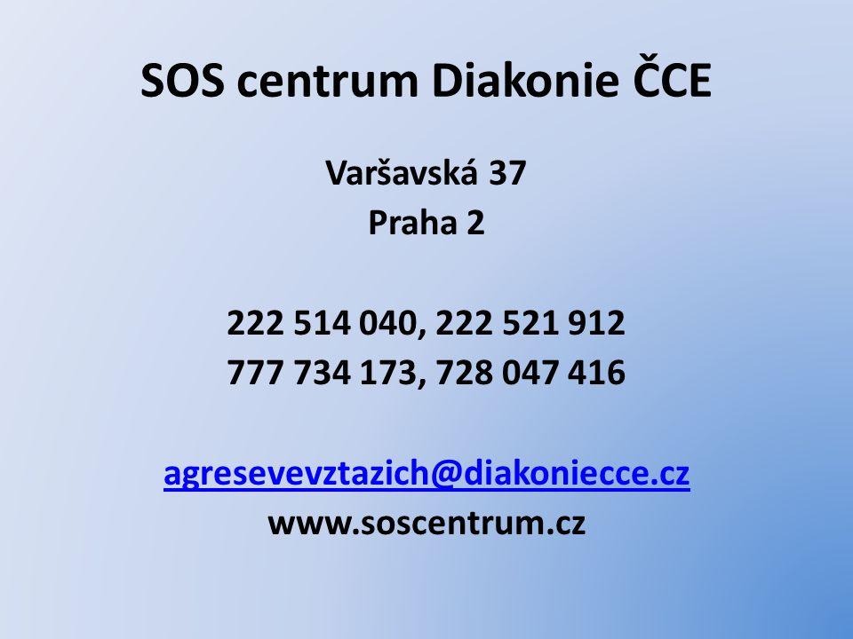 SOS centrum Diakonie ČCE Varšavská 37 Praha 2 222 514 040, 222 521 912 777 734 173, 728 047 416 agresevevztazich@diakoniecce.cz www.soscentrum.cz