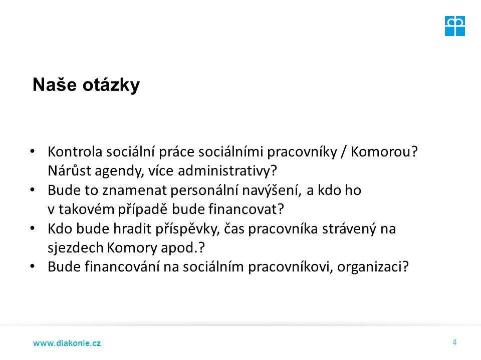 www.diakonie.cz Naše otázky 4 Kontrola sociální práce sociálními pracovníky / Komorou.