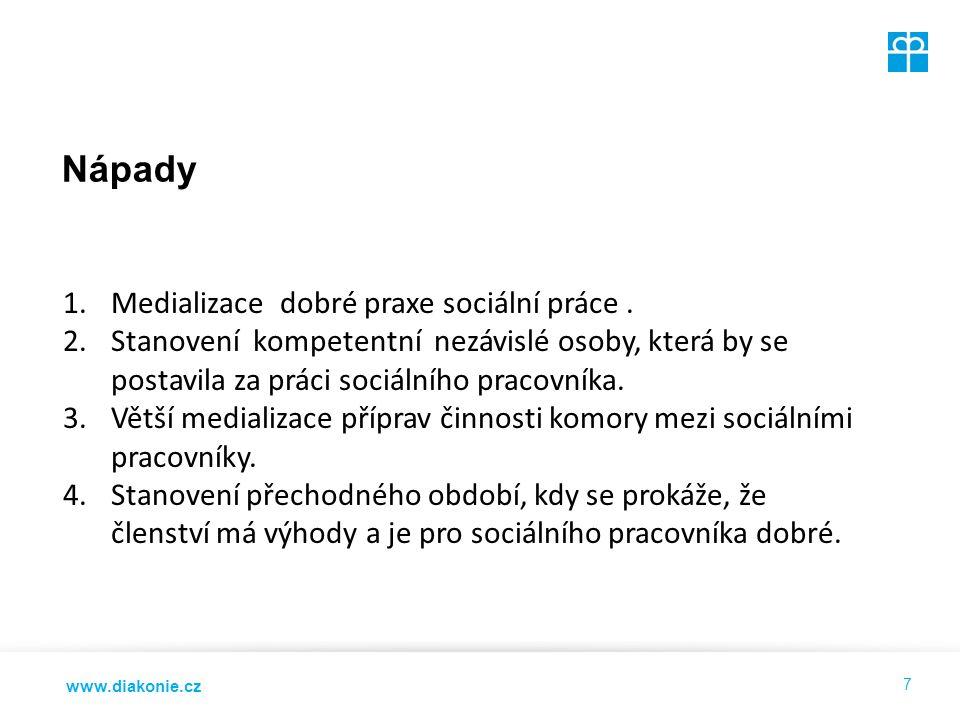 www.diakonie.cz Nápady 7 1.Medializace dobré praxe sociální práce.