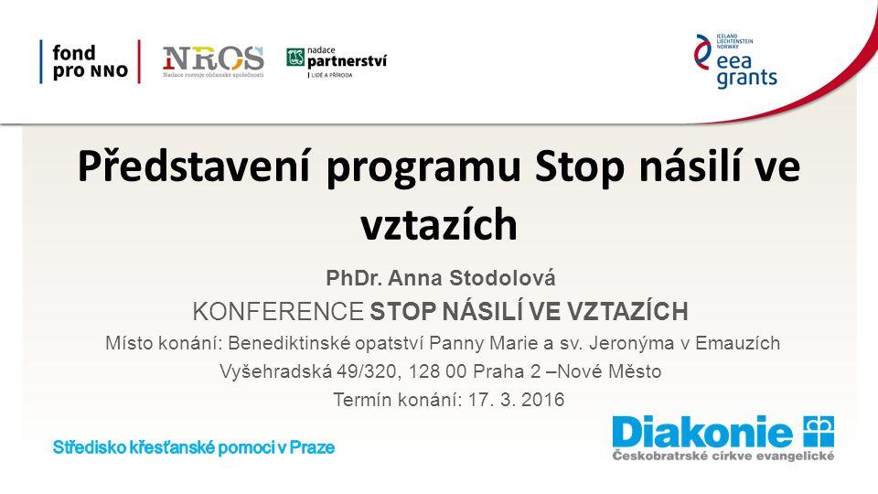 Představení programu Stop násilí ve vztazích PhDr.