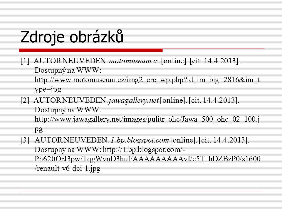 Zdroje obrázků [1] AUTOR NEUVEDEN. motomuseum.cz [online]. [cit. 14.4.2013]. Dostupný na WWW: http://www.motomuseum.cz/img2_crc_wp.php?id_im_big=2816&