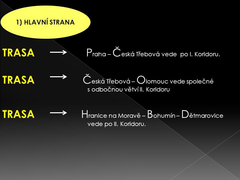 TRASA P raha – Č eská Třebová vede po I. Koridoru.