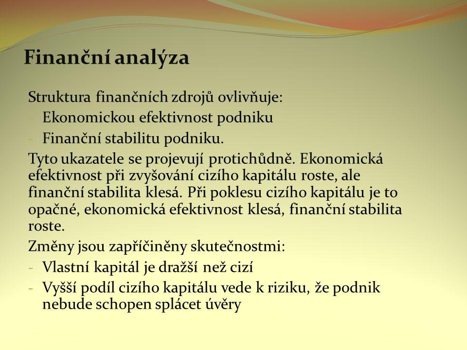 Finanční analýza Struktura finančních zdrojů ovlivňuje: - Ekonomickou efektivnost podniku - Finanční stabilitu podniku.