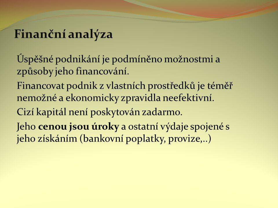 Finanční analýza Úspěšné podnikání je podmíněno možnostmi a způsoby jeho financování.