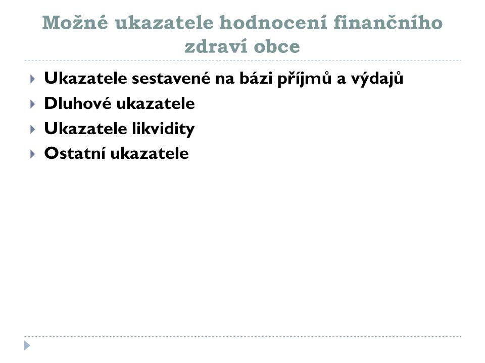 Možné ukazatele hodnocení finančního zdraví obce  Ukazatele sestavené na bázi příjmů a výdajů  Dluhové ukazatele  Ukazatele likvidity  Ostatní uka