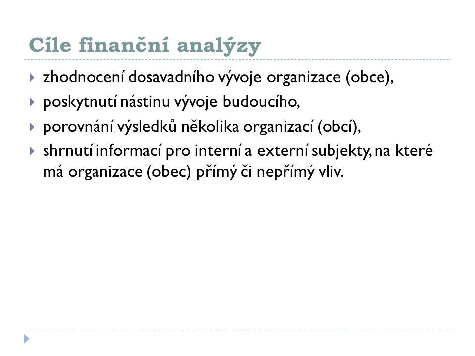 Cíle finanční analýzy  zhodnocení dosavadního vývoje organizace (obce),  poskytnutí nástinu vývoje budoucího,  porovnání výsledků několika organiza