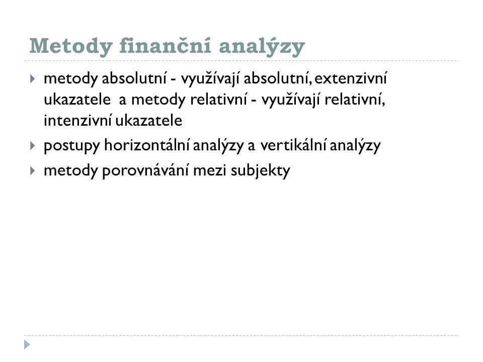 Metody finanční analýzy  metody absolutní - využívají absolutní, extenzivní ukazatele a metody relativní - využívají relativní, intenzivní ukazatele