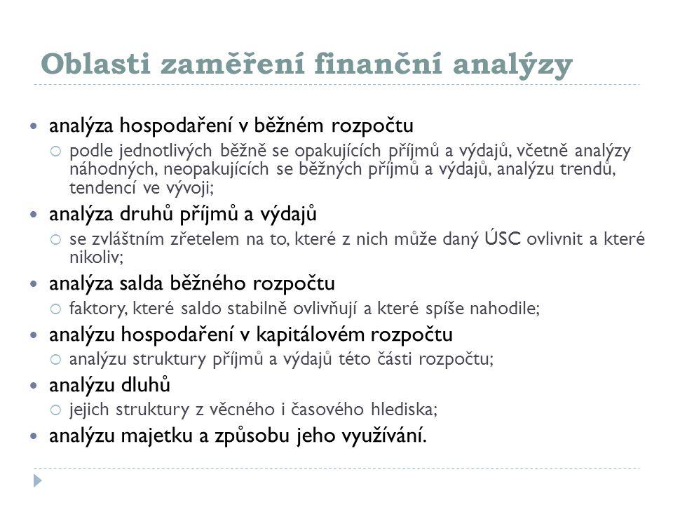 Oblasti zaměření finanční analýzy analýza hospodaření v běžném rozpočtu  podle jednotlivých běžně se opakujících příjmů a výdajů, včetně analýzy náho