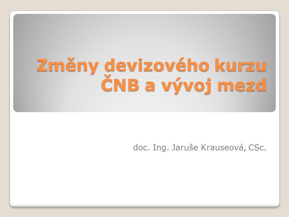 Oslabení české koruny Záměr ČNB podpořit růst mezd Rozdělování tržby a přidaná hodnota 1tržba 2 -výkonová spotřeba 3=přidaná hodnota 3-mzdy 4-odpisy 5-úroky(finanční zisk nebo ztráta) 6-daně 7=čistý zisk