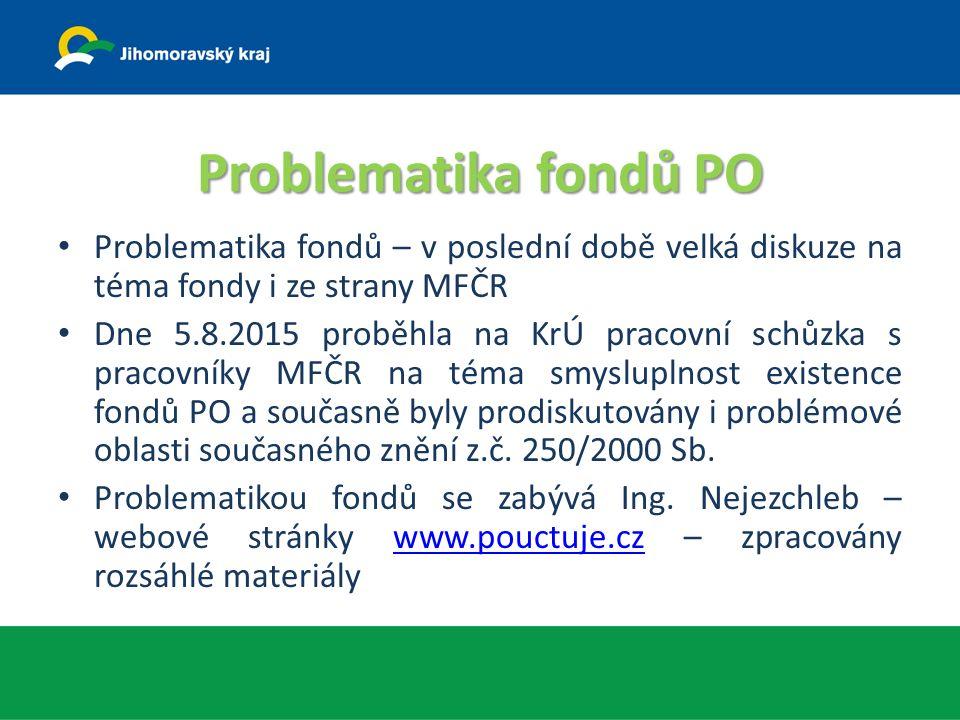 Problematika fondů PO Problematika fondů – v poslední době velká diskuze na téma fondy i ze strany MFČR Dne 5.8.2015 proběhla na KrÚ pracovní schůzka s pracovníky MFČR na téma smysluplnost existence fondů PO a současně byly prodiskutovány i problémové oblasti současného znění z.č.