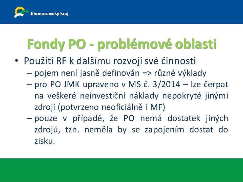 Fondy PO - problémové oblasti Použití RF k dalšímu rozvoji své činnosti – pojem není jasně definován => různé výklady – pro PO JMK upraveno v MS č.