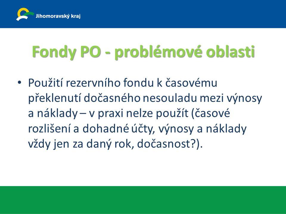 Fondy PO - problémové oblasti Použití rezervního fondu k časovému překlenutí dočasného nesouladu mezi výnosy a náklady – v praxi nelze použít (časové rozlišení a dohadné účty, výnosy a náklady vždy jen za daný rok, dočasnost ).