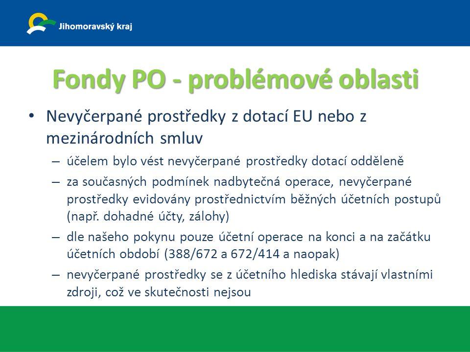 Fondy PO - problémové oblasti Nevyčerpané prostředky z dotací EU nebo z mezinárodních smluv – účelem bylo vést nevyčerpané prostředky dotací odděleně – za současných podmínek nadbytečná operace, nevyčerpané prostředky evidovány prostřednictvím běžných účetních postupů (např.