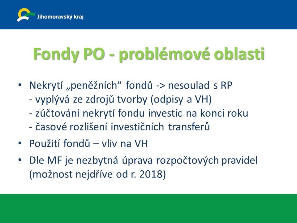 """Fondy PO - problémové oblasti Nekrytí """"peněžních fondů -> nesoulad s RP - vyplývá ze zdrojů tvorby (odpisy a VH) - zúčtování nekrytí fondu investic na konci roku - časové rozlišení investičních transferů Použití fondů – vliv na VH Dle MF je nezbytná úprava rozpočtových pravidel (možnost nejdříve od r."""