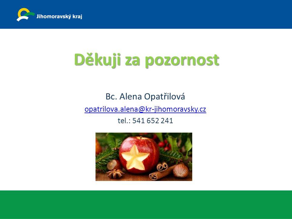 Děkuji za pozornost Bc. Alena Opatřilová opatrilova.alena@kr-jihomoravsky.cz tel.: 541 652 241