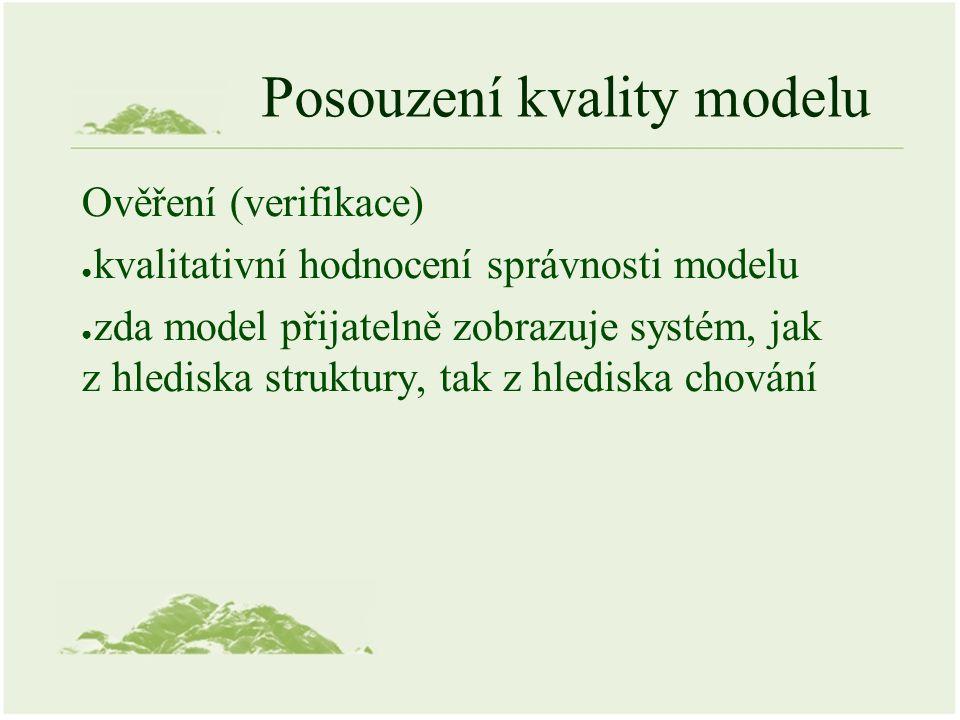 Posouzení kvality modelu Ověření (verifikace) ● kvalitativní hodnocení správnosti modelu ● zda model přijatelně zobrazuje systém, jak z hlediska struk