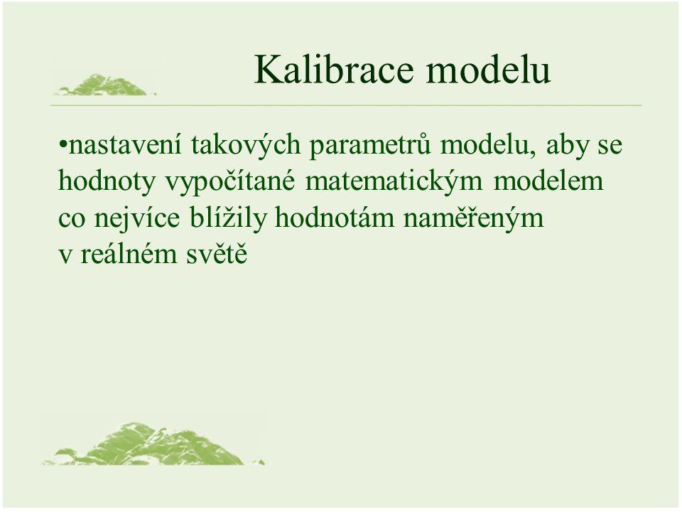 Kalibrace modelu nastavení takových parametrů modelu, aby se hodnoty vypočítané matematickým modelem co nejvíce blížily hodnotám naměřeným v reálném s