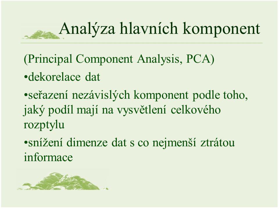 Analýza hlavních komponent (Principal Component Analysis, PCA) dekorelace dat seřazení nezávislých komponent podle toho, jaký podíl mají na vysvětlení