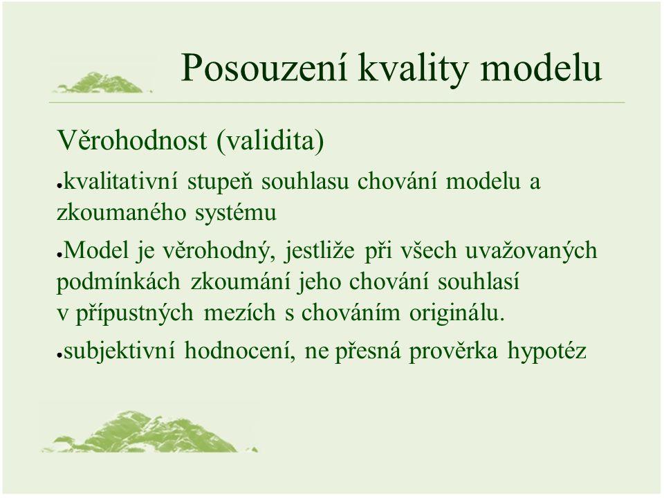 Posouzení kvality modelu Věrohodnost (validita) ● kvalitativní stupeň souhlasu chování modelu a zkoumaného systému ● Model je věrohodný, jestliže při