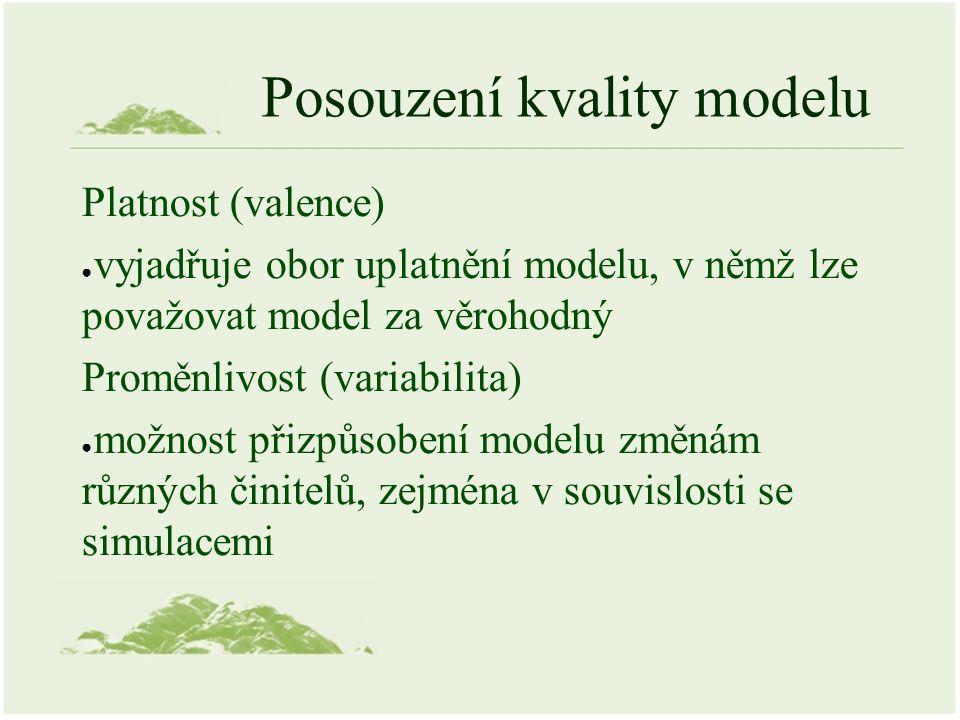Posouzení kvality modelu Platnost (valence) ● vyjadřuje obor uplatnění modelu, v němž lze považovat model za věrohodný Proměnlivost (variabilita) ● mo