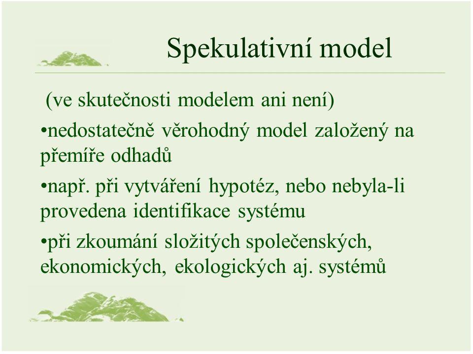 Spekulativní model (ve skutečnosti modelem ani není) nedostatečně věrohodný model založený na přemíře odhadů např. při vytváření hypotéz, nebo nebyla-
